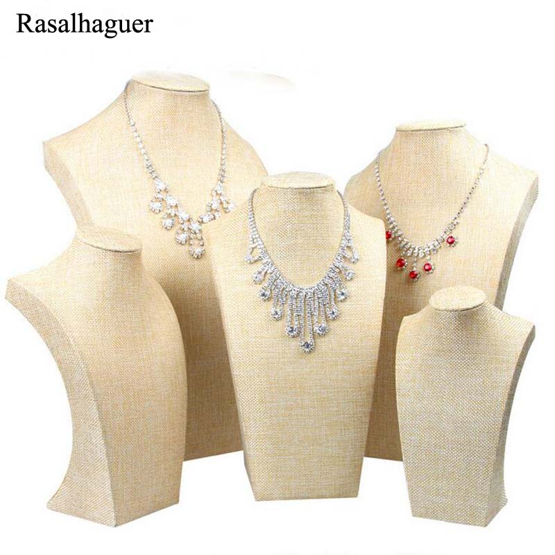 New Natural Linen Fabric Jewelry Necklaces Pendants Display Bust Choker Holder Stand Rack Show 5 Size Wholesale Price