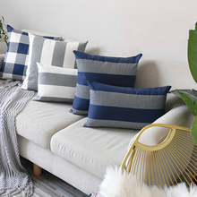 Modern Style Plaid Pillow Case For Bedroom Sofa Simple Striped Cover Square 1Pc Hidden Zipper Cotton Cushion Lumbar