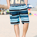 2017 New Arrival Large Size Men's Shorts Striped Casual Board Shorts Drawstring Waist Knee Length Swimming Shorts Beach Y2364