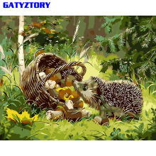 GATYZTORY Hedgehog DIY Painting By Numbers Modern Wall Art Picture Paint By Numbers Unique Gift For Home Decor 40x50cm Artwork(China)