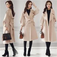 Female Double breasted Overcoat Long Sleeve Turn down Collar Slim Fit Women Army Green Woolen Coats Spring Windproof Warm Jacket