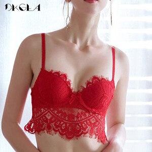 Image 3 - 패션 레드 레이스 란제리 섹시한 브래지어 세트 브래지어 B C 컵 속옷 여자는 두꺼운 면화 편안한 브래지어 팬티 세트를 밀어 올려