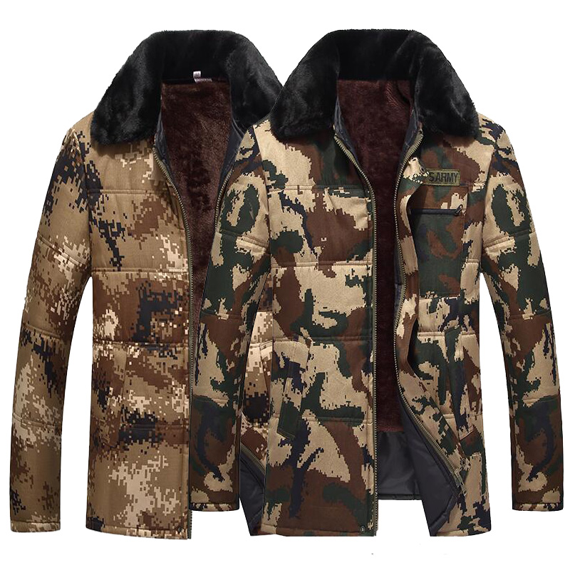 B Winter Camouflage Jacket Men Thermal Thick Parka Coat Man Military Jacket Outwear Plus Velvet Man Coat Plus Size S-4XL