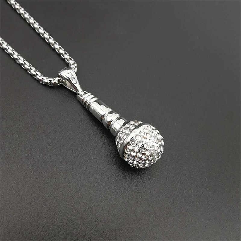 Хип хоп Iced Out Bling подвеска в виде микрофона ожерелья для женщин/мужчин из нержавеющей стали музыкальные украшения хиппи Прямая поставка