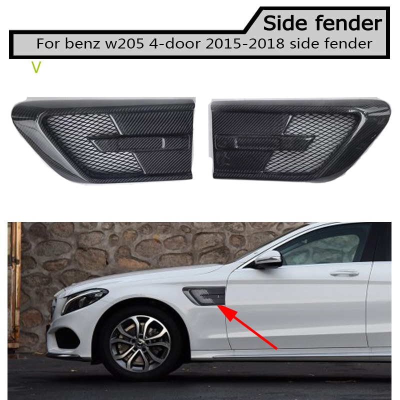 fake Carbon fiber Side Fender Vent Trim for Benz w205 c180 c200 c300 4 door not fit for c63 amg 2015-2018 image