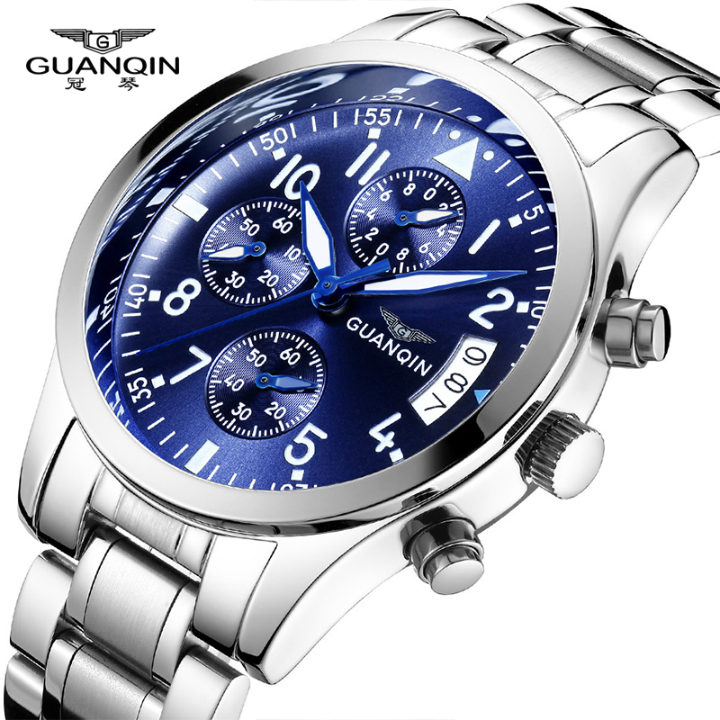 GUANQIN Men Watches Brand Luxury Fashion Business Quartz Watch Men Sport Full Steel Waterproof Blue Wristwatch relogio masculino men s watches curren fashion business quartz watch men sport full steel waterproof wristwatch male clock relogio masculino