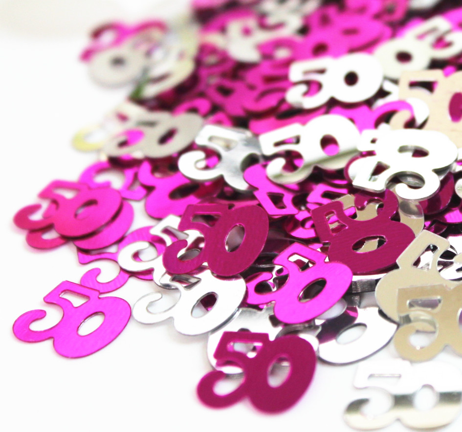 Adult birthday table decorations - 50g Women Adults Happy 50th Birthday Party Table Scatter Decoration Pink Silver Number 50 Sparkle