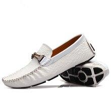 3 Цвета EUR Размер 38-44 Кожа Основной Мокасины Скольжения на Белом Пряжки Бездельник Обувь Мужская Повседневная Квартиры Автомобиля обувь
