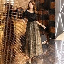 Вэй Инь 2020 Черное длинное вечернее платье с круглым вырезом с коротким рукавом длиной до щиколотки кружевное вечернее платье формальное платье для выпускного вечера WY1214
