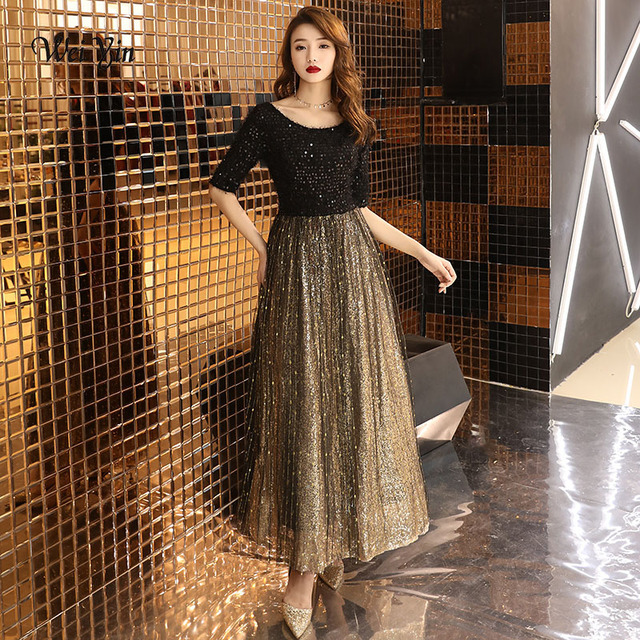 wei yin 2020 Black Long Evening Dress O neck Half Sleeves Ankle Length Lace Evening Dress Formal Party Dress Prom Dress WY1214