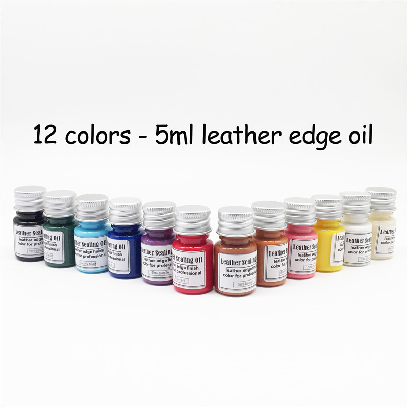 12 colors chosing 5ml colorful DIY paint Leather edge oil Highlights sealing dye board dye handmade diy leather side oil sealing edge head tool edge creaser ironing head tanned leather edge sealing head brass