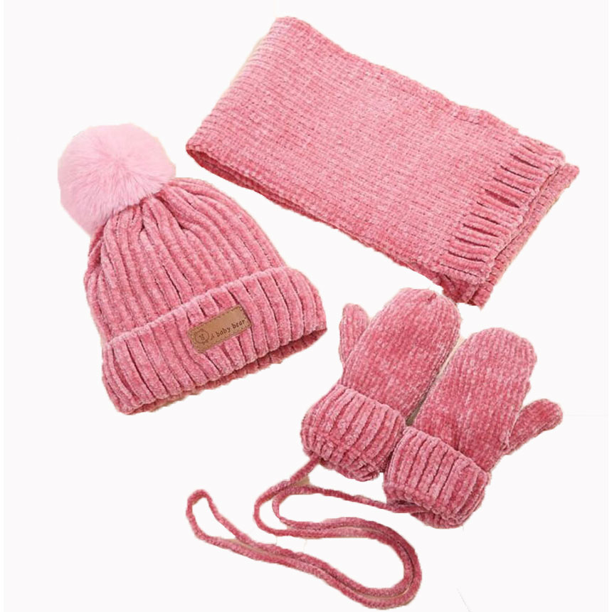Hat-Set Scarfs-Glove Hats Pompom-Cap Knitted Girls Baby Boys Kids Winter Children