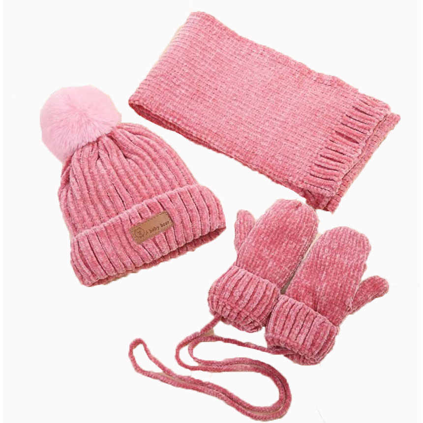 38aa7e63208d93 Baby Winter Scarf Hat Set For Kids Boys Girls Knitted Hats Scarfs Glove 3  Pcs Sets