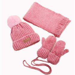 Детский зимний шарф шапка набор для детей мальчики девочки вязаные шапки шарфы перчатки 3 шт. наборы помпон шарфы с капюшоном Детский