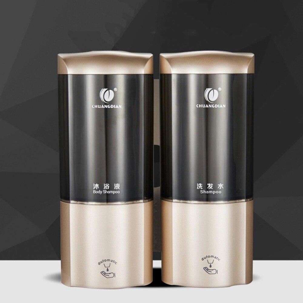 Distributeur de savon 500 ml * 2 distributeur de savon automatique capteur intelligent sans contact infrarouge ABS distributeur de savon mural shampooing boîte salle de bain