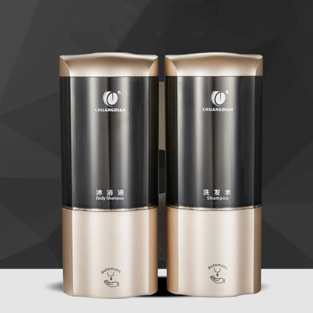 Soap Dispenser 500ml*2 Automatic Soap Dispenser Smart Sensor Touchless Infrared ABS Soap Dispenser Wall Shampoo Box Bathroom