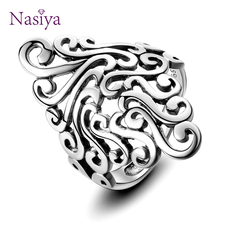 Women's Rings 925 Sterling Silver Fashion Women's Vintage Hollow Geometric Rings Bohemian Style Party Gift