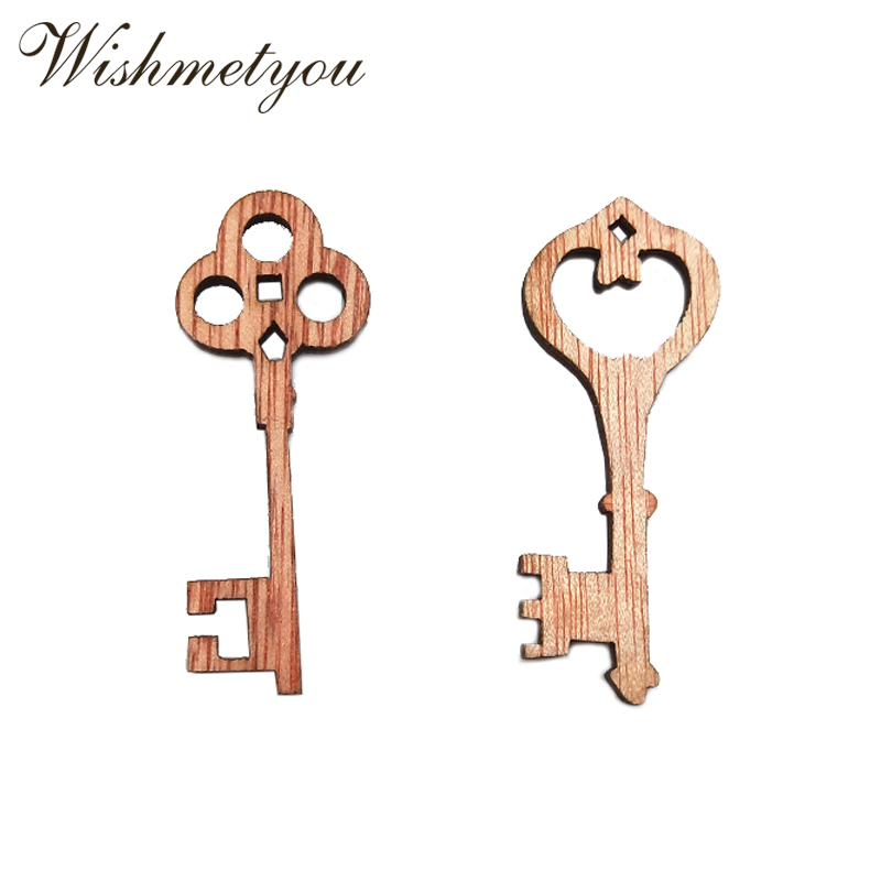 WISHMETYOU New Hot 10Pcs Vintage Key Wooden Crafts Accessories Diy Wood Slices Embellishments For Decor Party Tags Jewelry