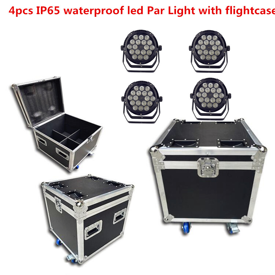 4X IP65 led étanche pair lumière avec flightcase 18x12 W 18X18 W led Par lumières RGBWA UV 6in1 scène DJ équipement disco lumières