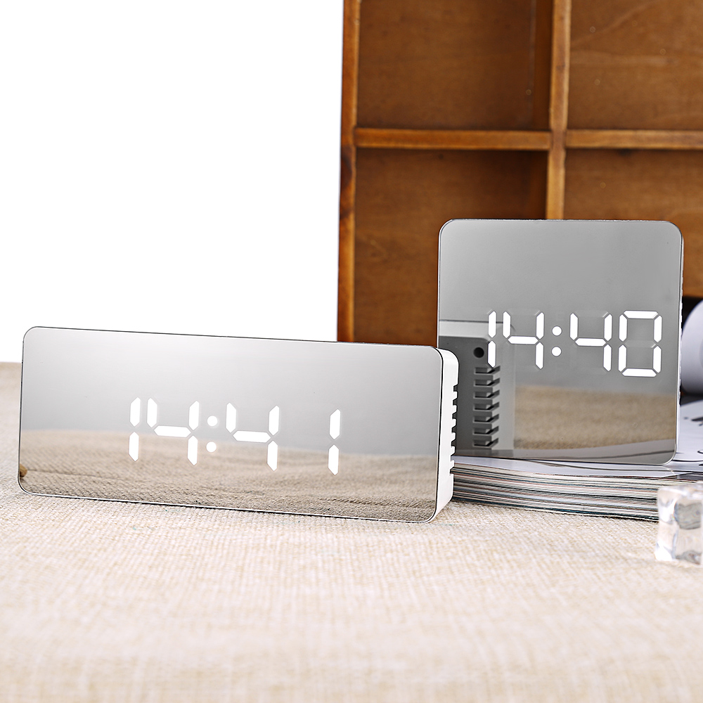 TS - S69/S70 Multifunctional Noiseless LED Alarm Clock Time Temperature Mirror Clock Table Desk Clock Snooze Night Office Home