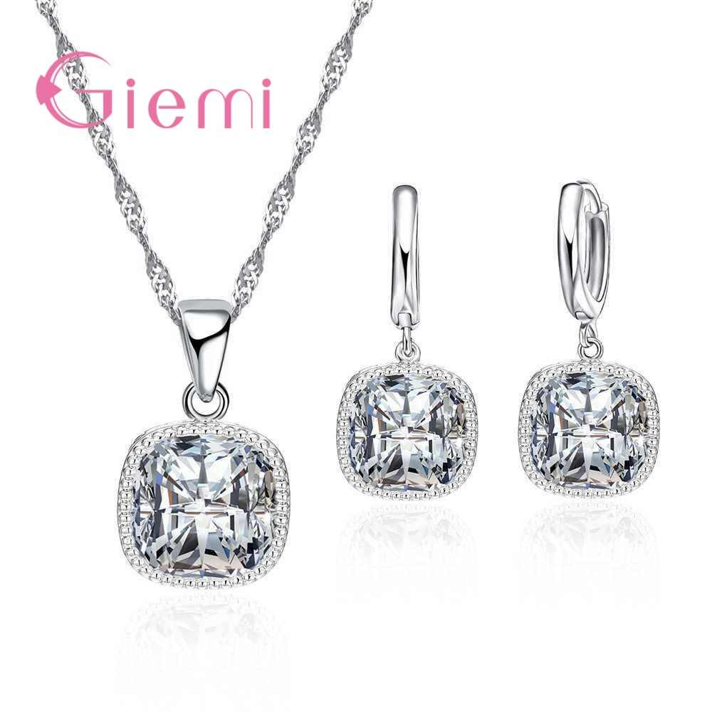 Summer Style 925 Sterling Silver Pendant Jewelry Sets Square Design CZ Rhinestone Geometry Choker Necklace Earrings Set