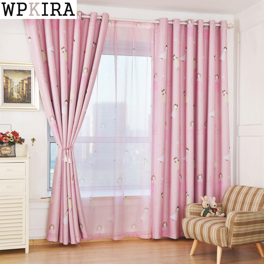 Kids Curtains Pink Princess Girls Cartoon Curtain Children Living Room Bedroom Window Jalousie Cortinas 139&30