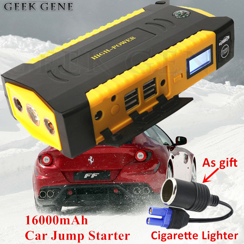 Multi-function 16000mAh Starting Device 12V 600A Portable Car Charger For Car Battery Booster Car Starter Lighter Petrol Diesel multi function 16000mah car jump starter portable 12v petrol diesel starting device power bank charger for car battery booster