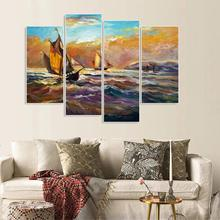 Laeacco 4 Panel Abstract Canvas Painting & Calligraphy Vintage Posters and Prints Decorative Wall Artwork Home Living Room Decor