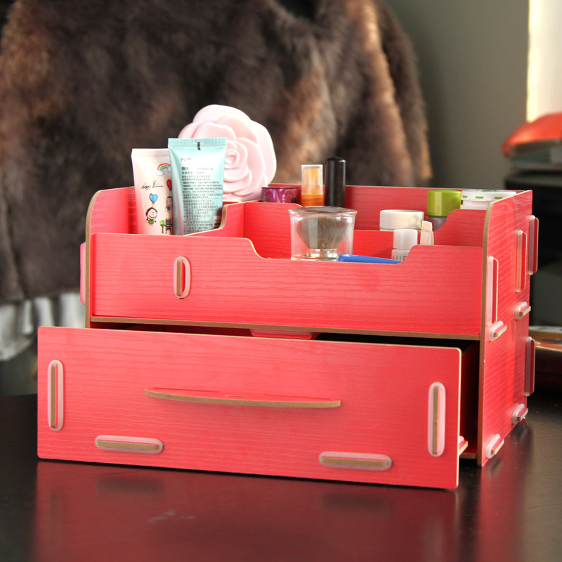 Free shipping DIY wooden pull-out desktop storage box, cosmetic box debris storage box SN2023