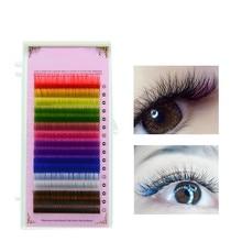 16 macaron 8 Colors Rainbow Colored Eyelash Extension Faux Mink color eyelashes colorful eyelash maquiagem cilios