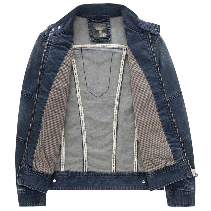 Осенняя джинсовая куртка с капюшоном, Мужская модная джинсовая куртка, Повседневная тонкая Ретро винтажная Хлопковая мужская брендовая одежда - 4