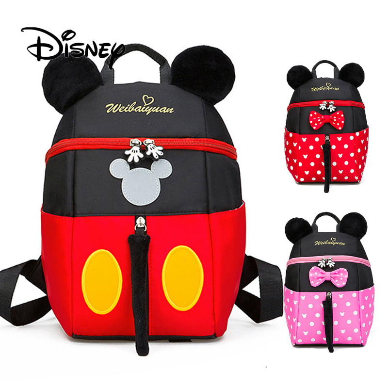 Disney Backpack Children Cartoon Mickey Mouse Bag Kindergarten 3 6 Years Old Boy Girl Baby Minnie Mouse Plush Snack Backpacks