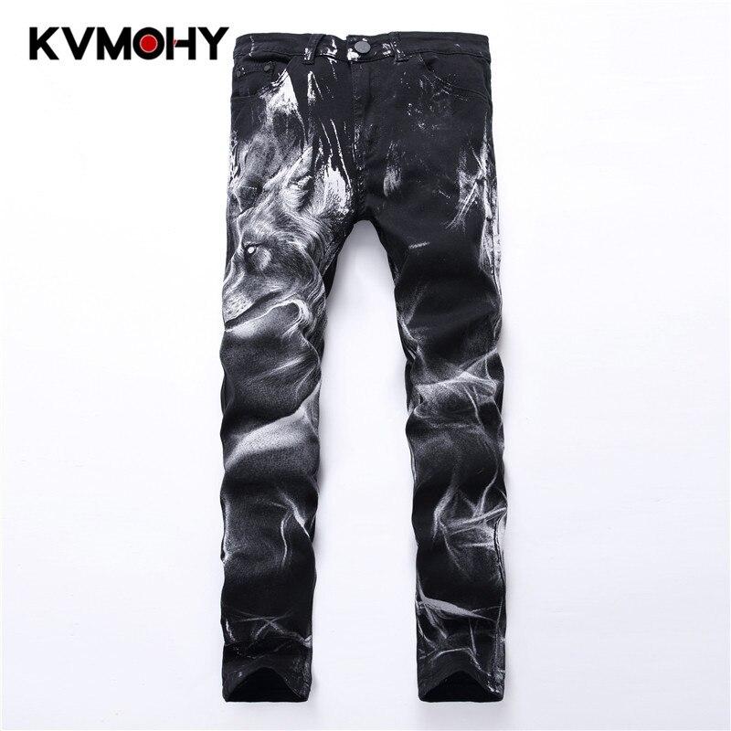 Men Jeans Biker Fashion Hiphop Pants Wolf Paint Straight Jean For Male Denim Trousers Black Retro Mens Streetwear