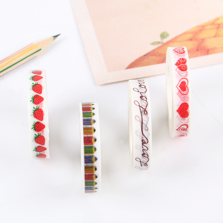 1PC DIY Strawberry Washi Tapes Lovely Heart Masking Sticker For Scrapbooking Decoration Office Adhesive Tape School Stationery