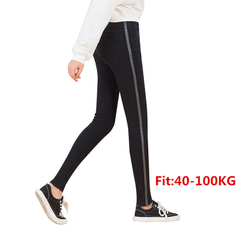 Autumn Winter Women Silver Side Striped   Leggings   Plus Size Thick Velvet 5XL Big Sizes Large   Legging   Black Warm Femme Trousers