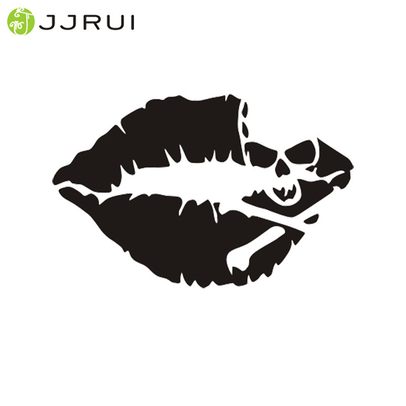 JJRUI Skull Lips Vinyl Decal Sticker Ventana Car Laptop Parachoques de Pared Pirata Crossbones Jdm Beso Wall Art Decals Pegatinas de pared