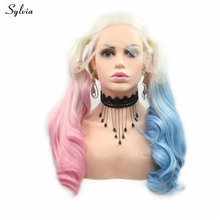 Wig Lace-Front Synthetic Blonde Wavy Heat-Resistant Long Ombre Women Sylvia for Half-Blue/half