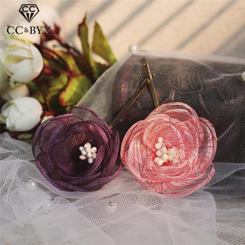 CC wedding jewelry hair sticks combs romantic 1pcs engagement accessories for bridal bridesimaids flower shape headdress O896
