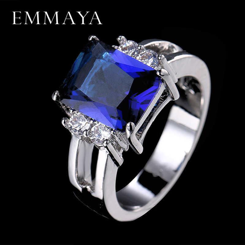 EMMAYA 2017 вечные украшения с синим кристаллом обручальное кольцо прозрачный цвет модные кольца для женщин Бесплатная доставка ювелирные изделия
