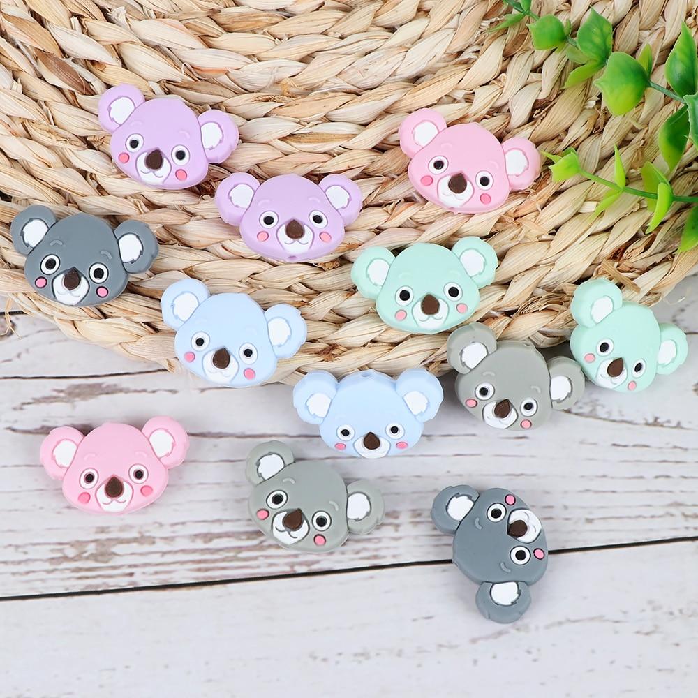 Image 5 - TYRY.HU 50pc Mini Koala Chewable Beads Food Grade Cartoon Silicone Beads Baby Teether Teething Toy DIY Pacifier Clip AccessoriesBaby Teethers   -