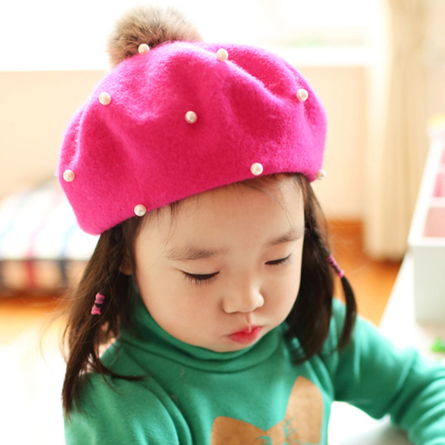 Cute Pom Pom Baby Girl Beret Hat Kids Girls Wool Hats Cap Solid Color Pearl Beret  Caps Winter Spring Princess Photography Props b9097528d3f