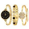 Mulheres de luxo Da Marca Pulseira Relógio Relógio de Strass Pulseira de Ouro E Pulseira Conjunto relógios das mulheres relógio de forma por atacado