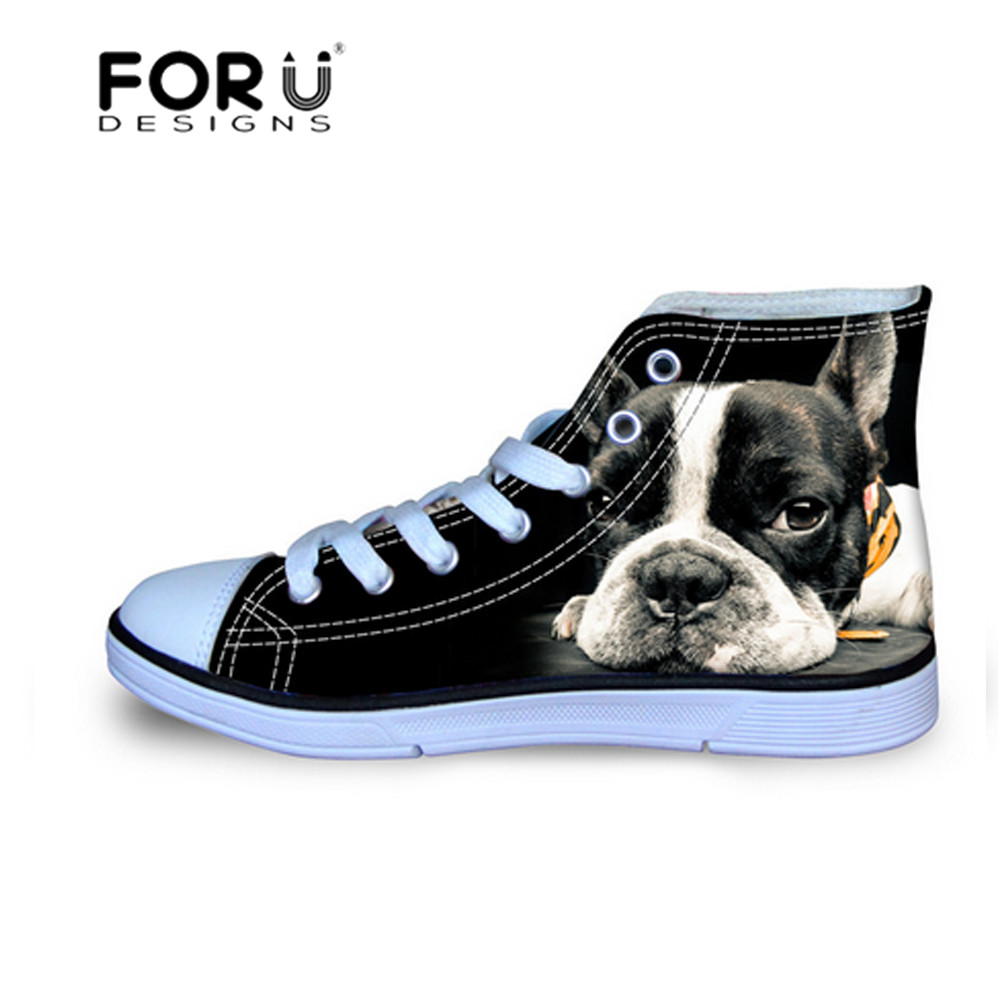 Hot Sales men High Top Canvas Shoes Horse Pug Dog Pattern Lace up Flats Shoes man boys Student Casual Shoes Female Footwear