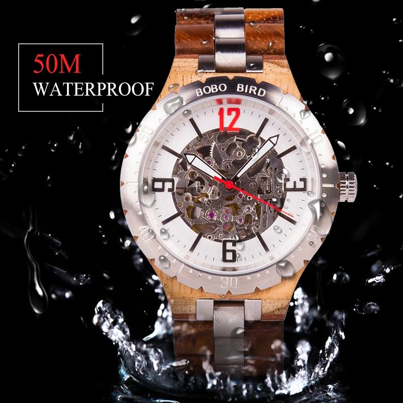 BOBO UCCELLO di Lusso Meccanico Uomini Della Vigilanza Water Resistant Orologio Automatico In Acciaio Inox relojes automaticos de hombre