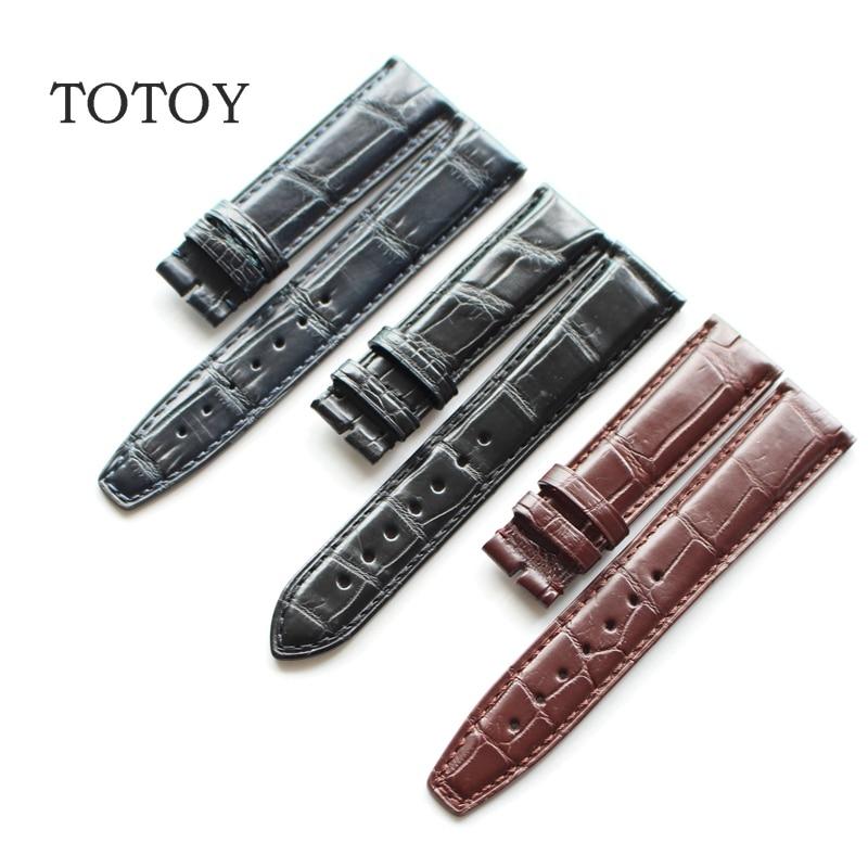 Main Crocodile En Cuir Bracelets 20 MM 22 MM Bleu/Noir/Brun En Cuir Watchb, approprié pour iwc rétro bracelet, Livraison rapide
