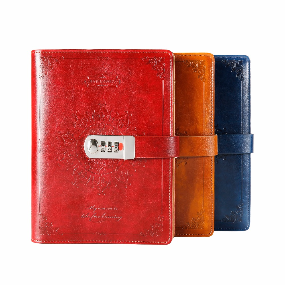 NEW leather Notebook Diary with lock code Bussiness Vintage diary paperback Notepad 80 sheets stationery Products supplies gift