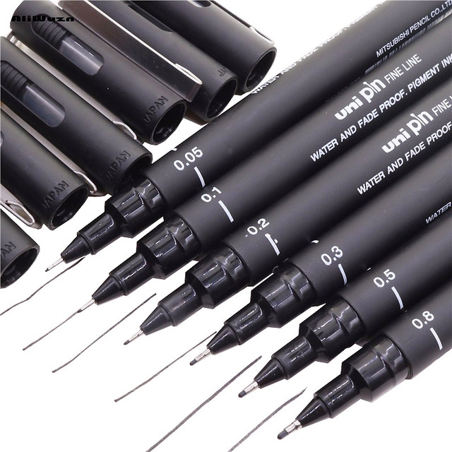 Fineliner Pigma Micron Drawing Pen 005 01 02 03 05 08 Brush...
