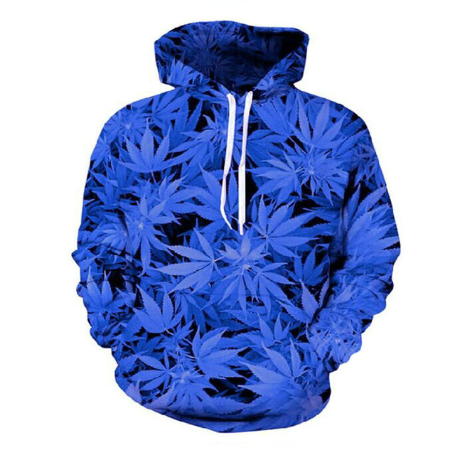 343c0e1f New Royal Blue Linen Leaf Weed Printing Sweatshirt Men Hooded Pattern  Autumn And Winter Casual 3D
