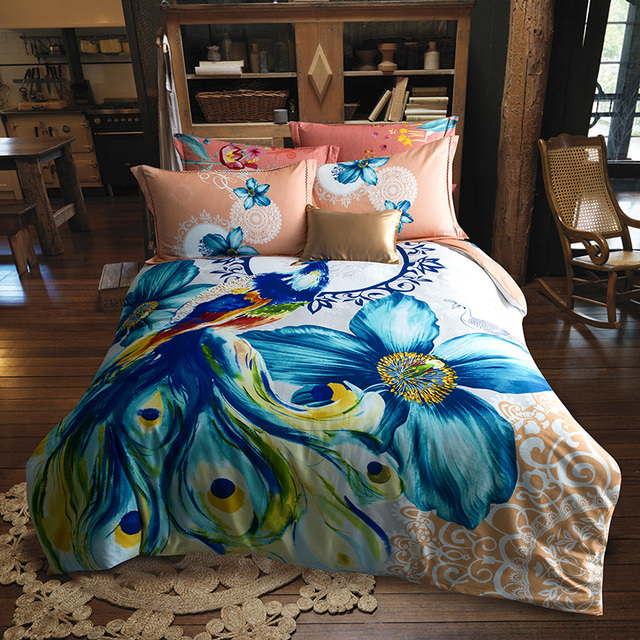 Bright Colored Peacock And Flower Watercolor Bedding Set Queen King Size  Duvet Cover Bed Sheets Sanding