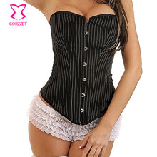 PinStriped Overbust Corset Burlesque Office Women Body Shapers Sexy Corsets and Bustiers Gotico Corpete Back Lace